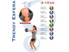 MEDICINBAL ESFERA S ÚCHYTY, ZÁTĚŽOVÝ MÍČ 3kg až 10kg
