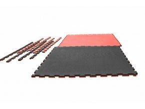 Tatami puzzle Crossline 1m x 1m x 2cm červeno-černá