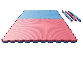 Tatami puzzle - 1m x 1m x 4cm - modro/červená