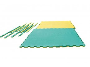 Tatami puzzle Crossline 1m x 1m x 2cm zeleno-žlutá